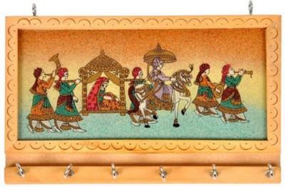 Khushal Rajasthani Art Key Holder Showpiece  -  8 cm(Wooden, Multicolor)