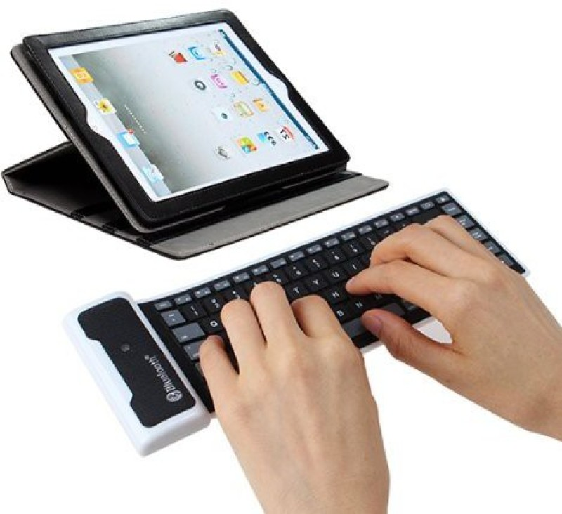 ROQ Wireless Rubber Silicon Bluetooth Tablet Keyboard(Black)