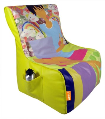 ORKA Printed Filled with Beans Leatherette XXL Chair Kid Bean Bag(Bead Filling, Color - Multicolor)
