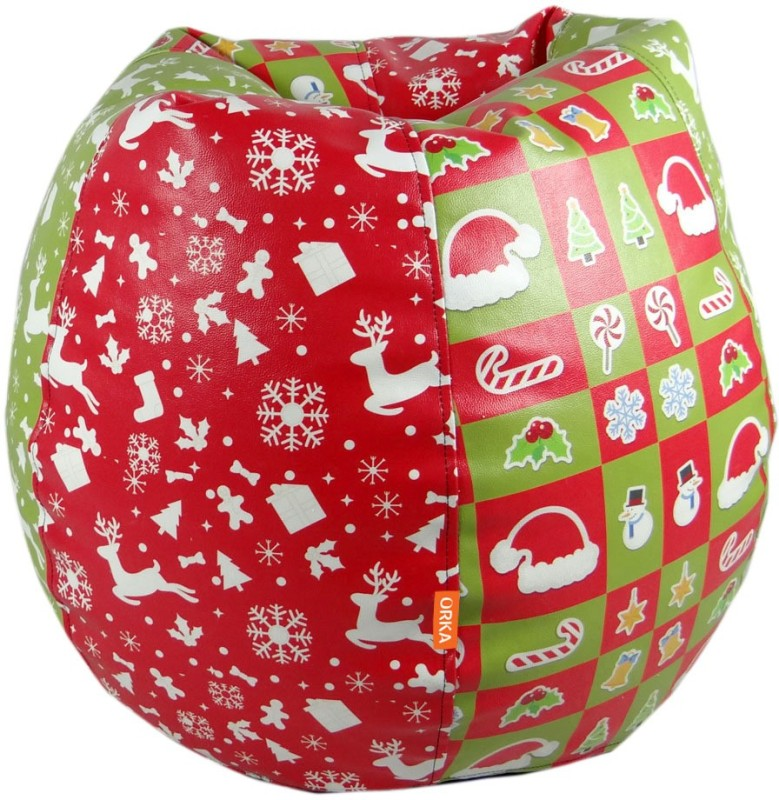 ORKA Christmas Leatherette S Teardrop Kid Bean Bag(Bead Filling, Color - Multicolor)