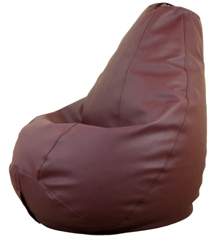 IBS Leatherette XXL Chair Kid Bean Bag(Bead Filling, Color - Brown)