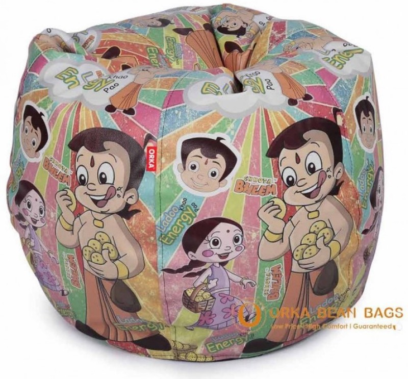 ORKA Chhota Bheem Series Leatherette S Teardrop Kid Bean Bag(Bead Filling, Color - Multicolor)