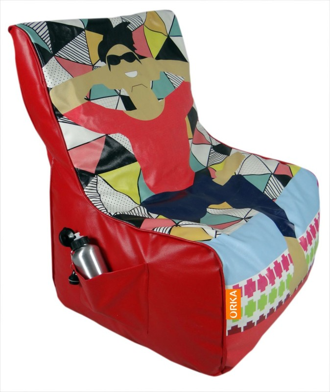 ORKA Printed Leatherette XXXL Chair Kid Bean Bag(Bead Filling, Color - Multicolor)
