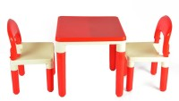 Variety Gift Centre 2 in 1 Building Blocks cum Study or Play Table with 2 Chairs Plastic Desk Chair(Finish Color - Red)