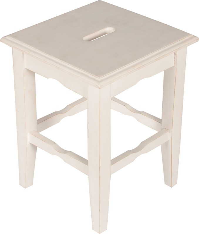 Hastkala Solid Wood Stool(Finish Color - White)