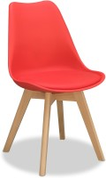 Alex Daisy Nordic Solid Wood Chair(Finish Color - Red)