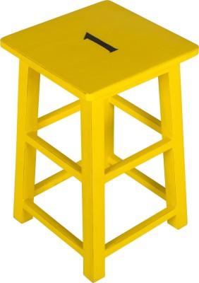 Hastkala Solid Wood Stool(Finish Color - Yellow)