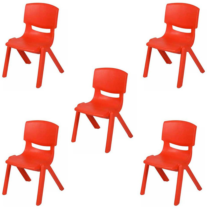 View Variety Gift Centre Set Of 5 Plastic Chair(Finish Color - Red) Furniture (Variety Gift Centre)