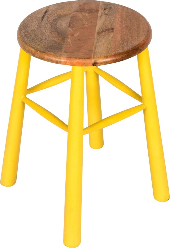 Hastkala Solid Wood Stool(Finish Color - Yellow)