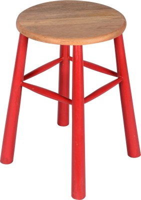 Hastkala Solid Wood Stool(Finish Color - Red)
