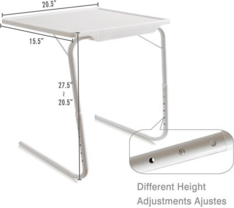 Tuzech White Adjustable Folding Laptop Plastic Study Table(Finish Color - White)