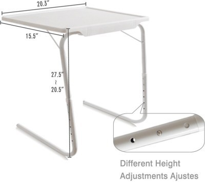 View Tuzech White Adjustable Folding Laptop Plastic Study Table(Finish Color - White) Furniture (Tuzech)