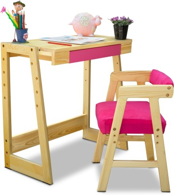 Alex Daisy Pineworks Solid Wood Study Table(Finish Color - Natural Wood & Pink)