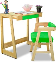 Alex Daisy Pineworks Solid Wood Study Table(Finish Color - Natural Wood & Green)