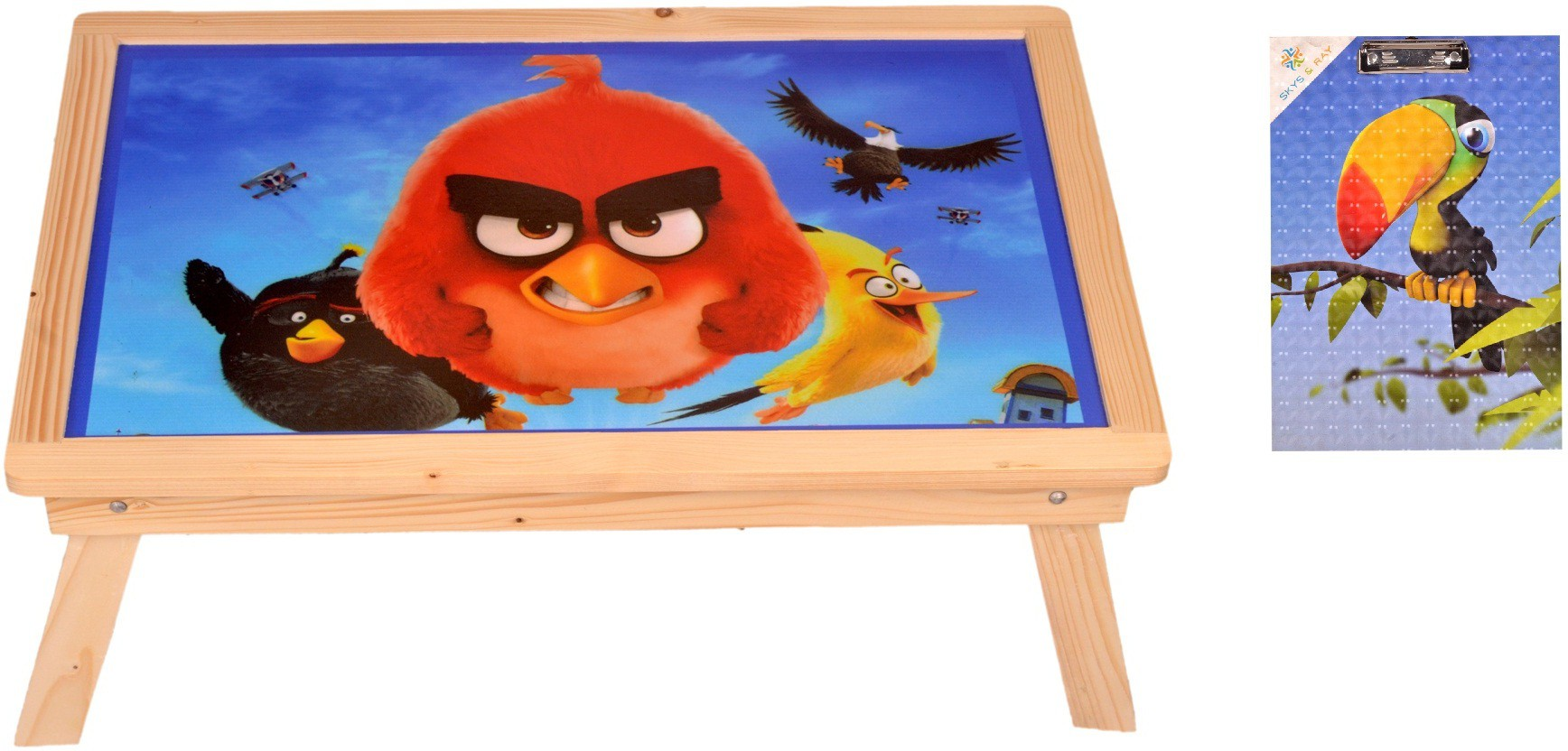 View Skys&Ray Cartoon Image study table With Exampad Solid Wood Study Table(Finish Color - walnut brown) Furniture (Skys&Ray)