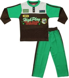 Kid's Care Boys Casual T-shirt Pant(Green)