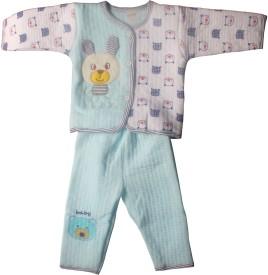 Mankoose Boys & Girls Casual Jacket Pyjama(Light Blue)