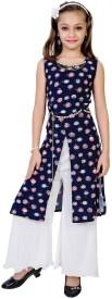 Be13 Girls Casual Top Pyjama(Blue)