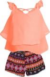 Addyvero Girls Casual Top Shorts (Orange...