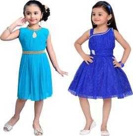 Aarika Girls Party(Festive) Dress Dress(Blue)