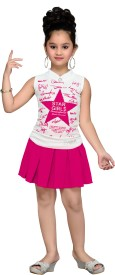Aarika Girls Party(Festive) Top Skirt(Pink)
