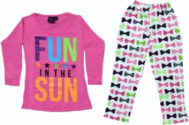 Tomato Girls Casual T-shirt Pyjama(Pink)