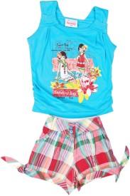 Cuddlezz Girls Party(Festive) Top Shorts(Blue)