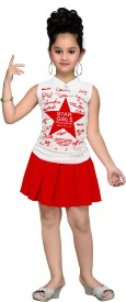 Aarika Girls Party(Festive) Top Skirt(Red)