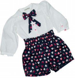 page3baby Girls Party(Festive) Shirt Shorts(White)