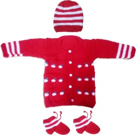 Dadima Ki Bunai Boys & Girls Casual Sweater Sweater(Red)