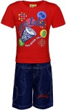 Punkster Boys Casual T-shirt Shorts (Red...