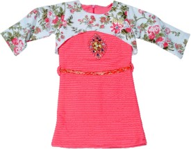 Hey Baby Girls Party(Festive) Top Jacket(Pink)