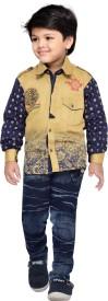 AJ Dezines Boys Casual Shirt Jeans(Brown)