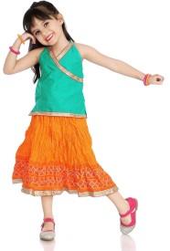 Little Pocket Store Girls Casual Top Skirt(Green)