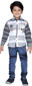 AJ Dezines Boys Casual Shirt Jeans(White)