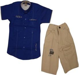 Titrit Boys Party(Festive) Shirt Shorts(Blue)