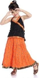 Little pockets store Girls Casual Top Skirt(Black)