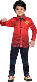 AJ Dezines Boys Casual Shirt Jeans(Red)