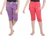 Red Ring Capri For Girls Casual Solid Co...