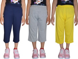 69GAL Capri For Girls Casual Solid Cotton(Multicolor Pack of 3)