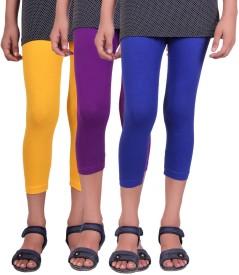 Alisha Capri For Girls Casual Solid Cotton(Multicolor Pack of 3)