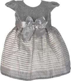 Kiwi Baby Girl's Midi/Knee Length Party(Grey, Cap Sleeve)
