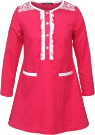 Cool Quotient Girl's Maxi/Full Length Casual(Pink, Full Sleeve)