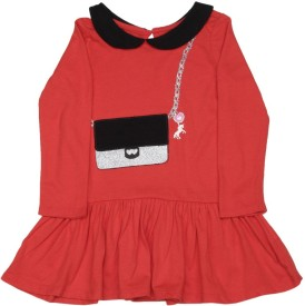 The Children's Place Girl's Midi/Knee Length Casual(Red, Full Sleeve)
