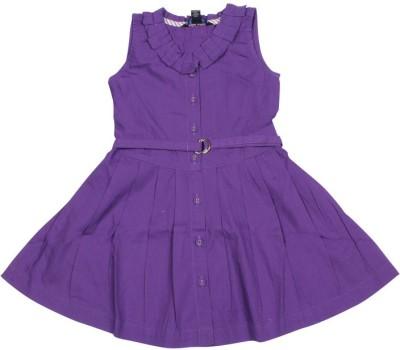 Old Khaki Gown Dress For Girls(Purple Sleeveless)
