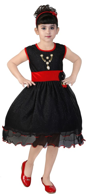 FTC Bazar Girl's Midi/Knee Length Party Dress(Black, Sleeveless)