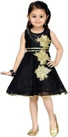 Aarika Baby Girl's Midi/Knee Length Party(Black, Sleeveless)