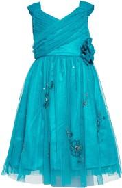 The Cranberry Club Girl's Midi/Knee Length Party Dress(Blue, Sleeveless)
