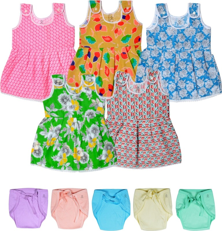 Sathiyas Baby Girl's Midi/Knee Length Casual Dress(Multicolor, Sleeveless)