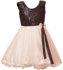 Birthdaywala Dress Girl's Midi/Knee Length Party(White, Sleeveless)